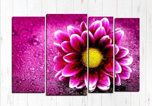 Модульная картина Волшебный фиолетовый цветок