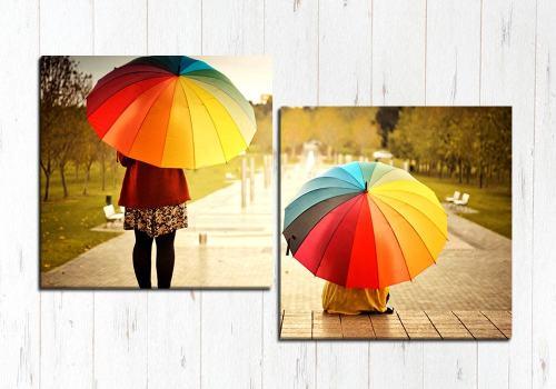 Модульная картина Девочки с зонтом
