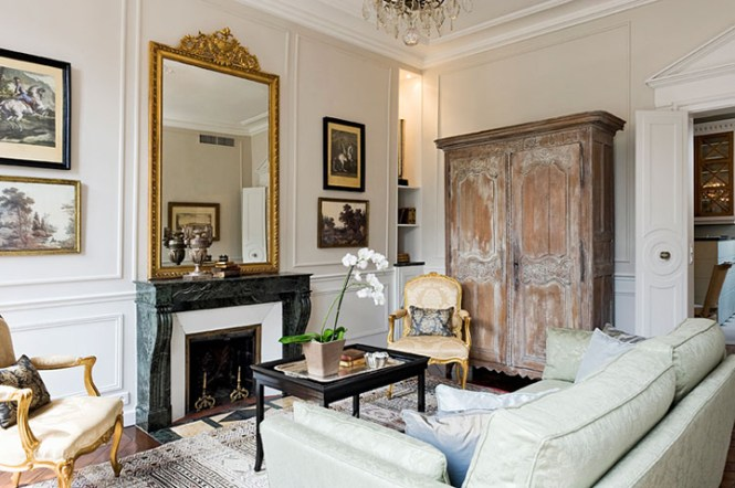 Paris Apartments Usually Have Parquet Floors Marble Mantelpieces And A Gilded Mirror