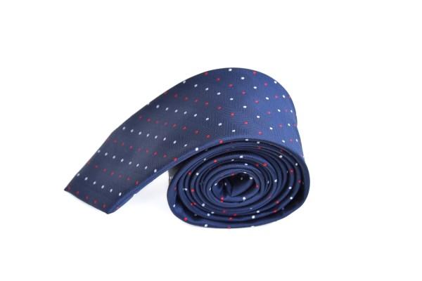 Blauwe stropdas met gekleurde stippen.