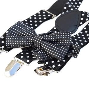 Zwarte bretels met zwarte stippen en een zwart strikje met witte stippen voor kinderen.