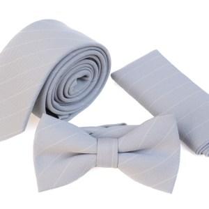 Grijze stropdas, strik en pochet met witte lijn als opdruk.