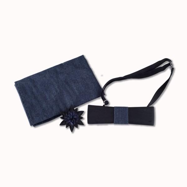 Houten zwarte strik in set met pochet en broche.