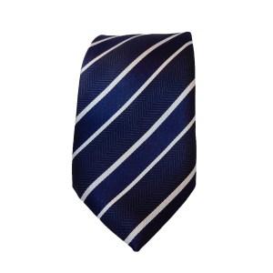 Blauwwit gestreepte stropdas onderdeel van set David, bestaande uit een stropdas manchetknopen en een pochet.