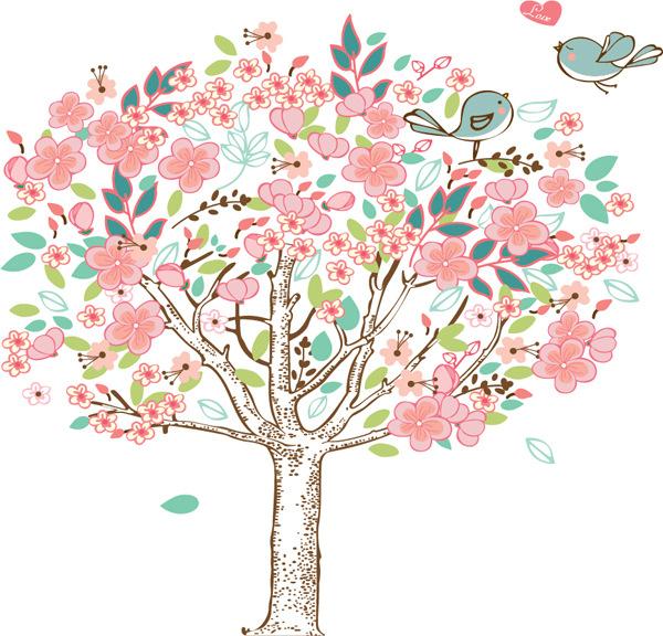 muursticker bloemen boom