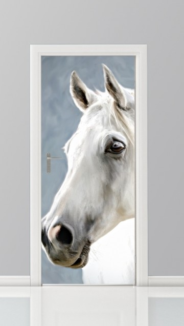 deursticker foto paard wit
