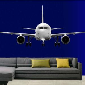 muursticker vliegtuig full colour