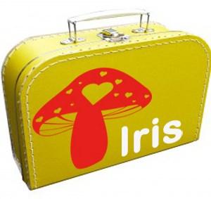 koffertje met paddenstoel en naam