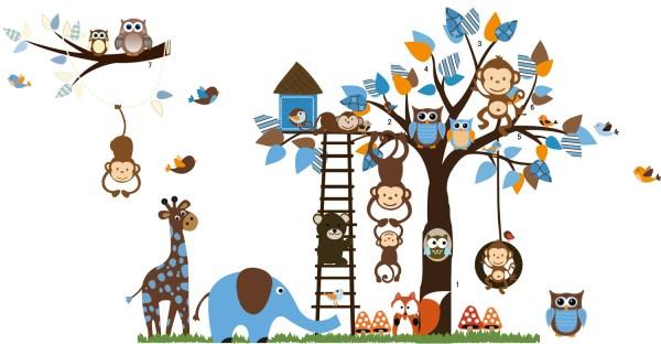 muursticker met dieren en ladder