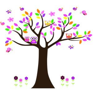 muursticker boom met uilen