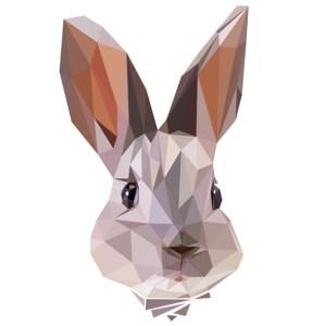 muursticker diamond konijn grijs