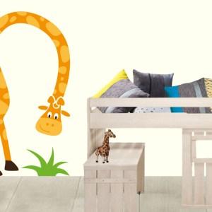 muursticker lange giraffe