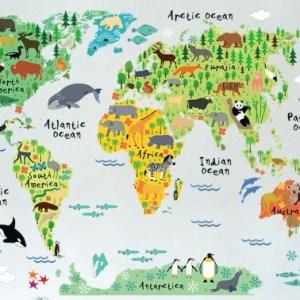 Muursticker wereldkaart dieren