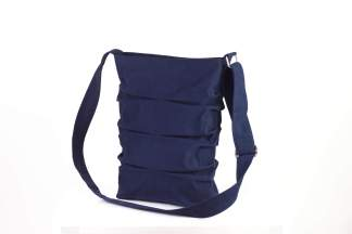 Dark Navy Blue Pleated Canvas Tote