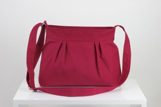 maroon small pleated purse bag