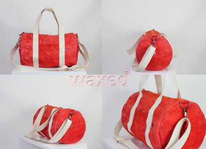 waxed orange duffle sport bag