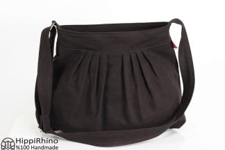 Dark Brown Pleated Canvas Bag