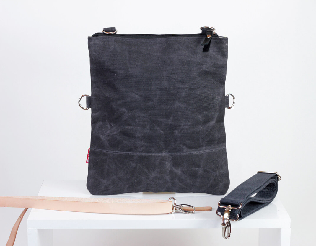 Waxed Canvas Foldover Tote Bag Removable Cotton Vegetable Leather ... 562cdcd83a9f6