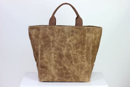 large waxed grocery tote bag