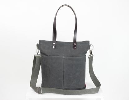 Waxed tote bag with leather shoulder tote bag