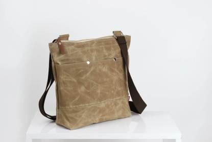 Camel Waxed Tote Bag
