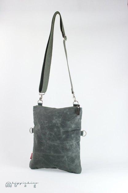 Gray waxed foldover tote bag