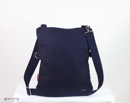 Navy Blue Waxed Foldover Bag