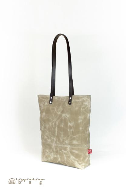 Waxed Beige Tote Bag with Leather Strap