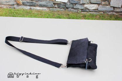 Black Waxed Foldover Clutch Bag