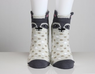 3D Ear Raccoon Socks