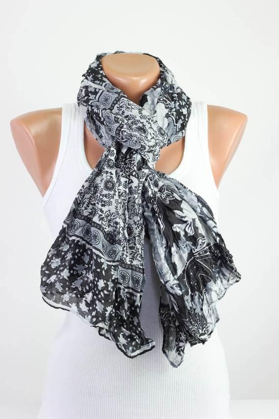 Black White Floral Scarf