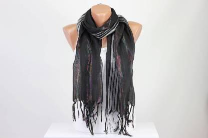 Black Silver Striped Scarf