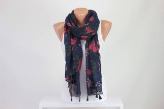 Navy Blue Scarf Flower