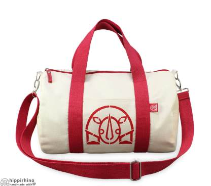 Personalized Stenciled Raw Cotton Duffle Bag