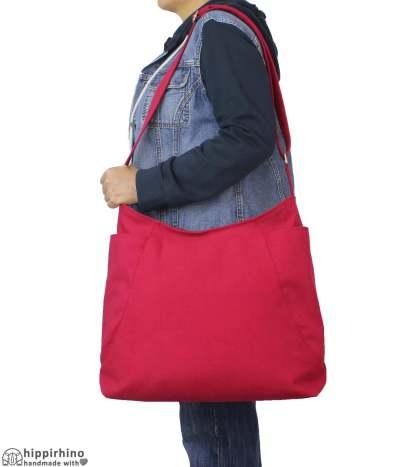 Maroon Canvas Crossbody Hobo Bag