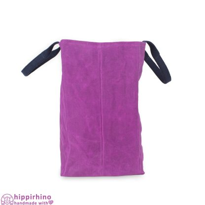 Purple Waxed Large Canvas Reusable Grocery Bag