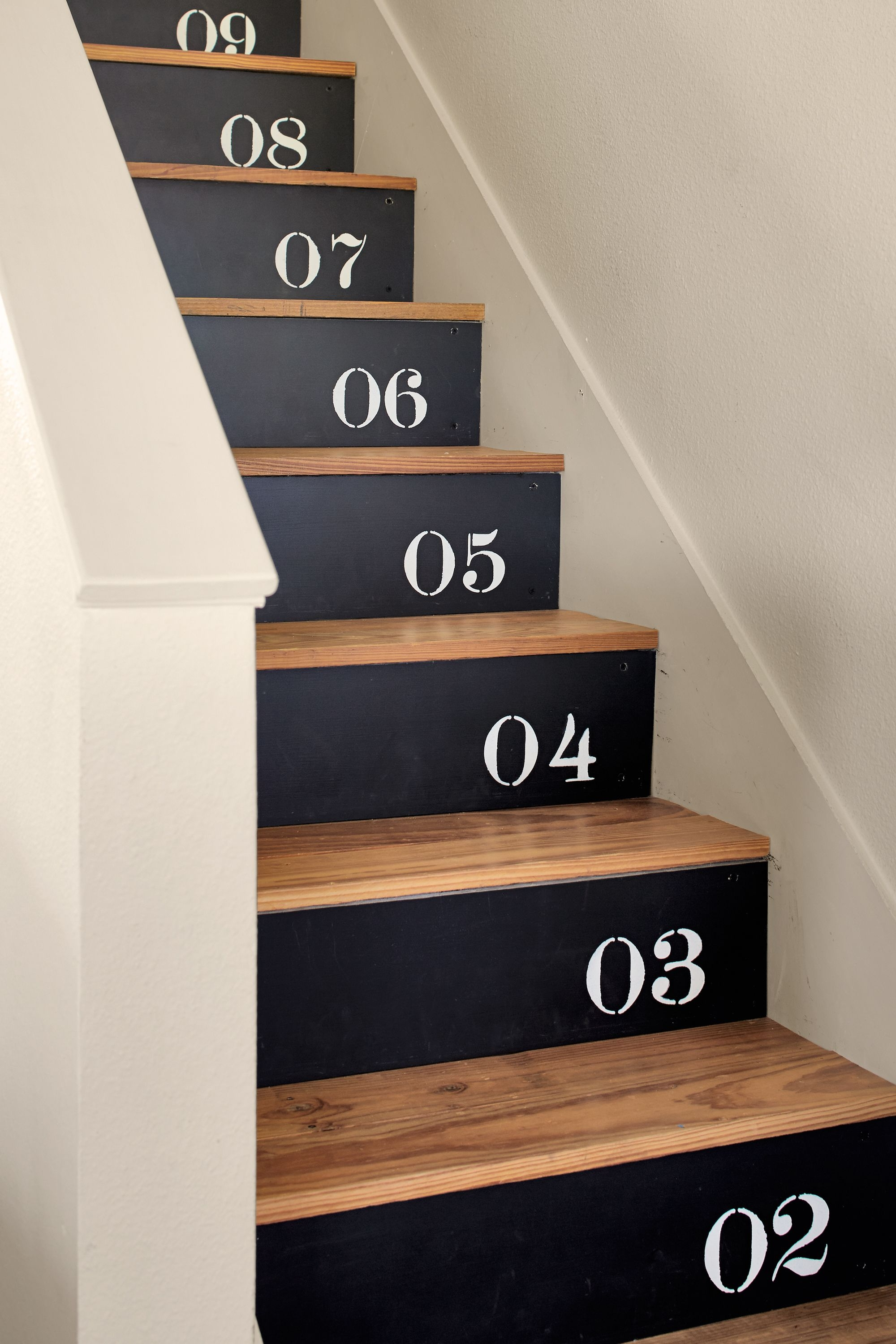 18 Pretty Painted Stairs How To Paint Stair Rails Risers And More | Tile Risers On Wood Stairs | Stair Tread | Decorative | Wood Finish | Stair Outdoors | Wooden