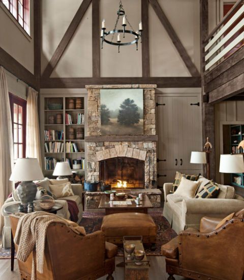 Rustic Lake House Decorating Ideas   Cabin Decor Ideas traditional living room