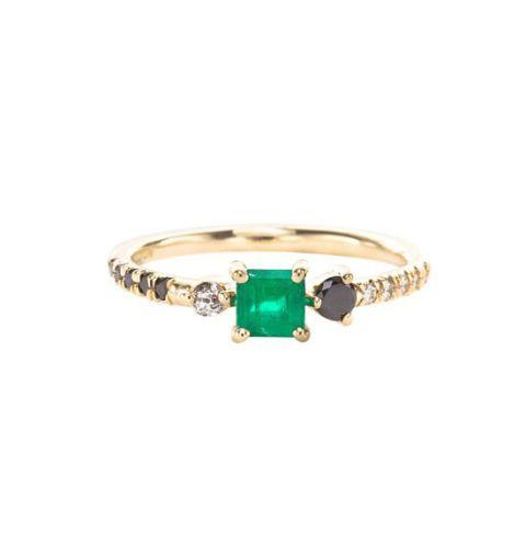 mociun cappella stone cluster ring emerald