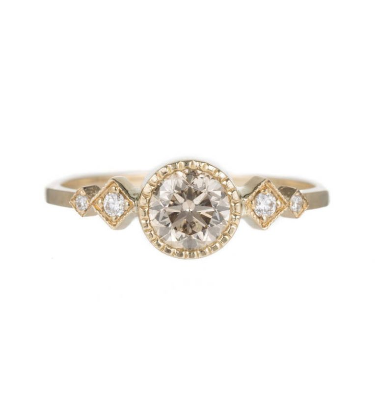 jennie kwon champagne diamond solitaire echo ring