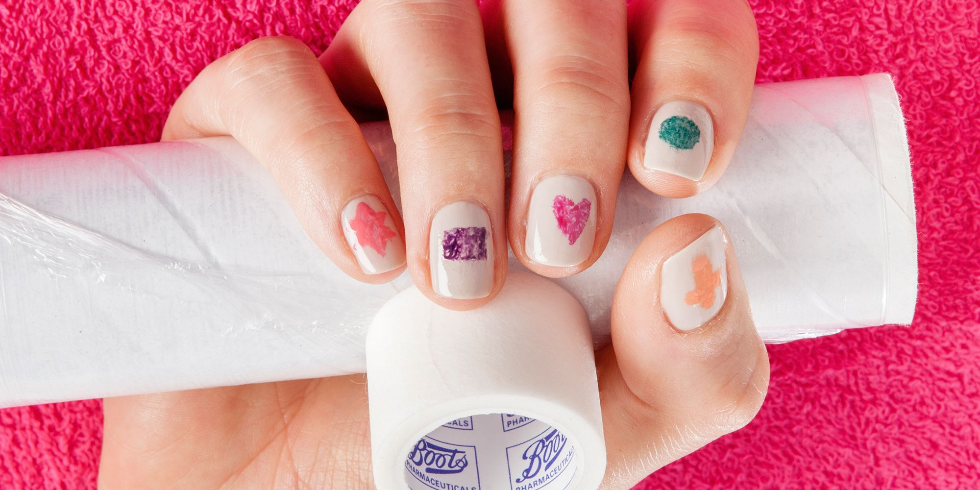 Diy Nail Art How To Do Marble Effect Shapes Using Adhesive Tape And Cling Film