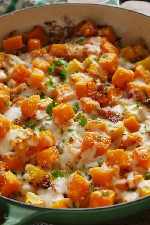 Image result for Cheesy Bacon Butternut Squash recipe