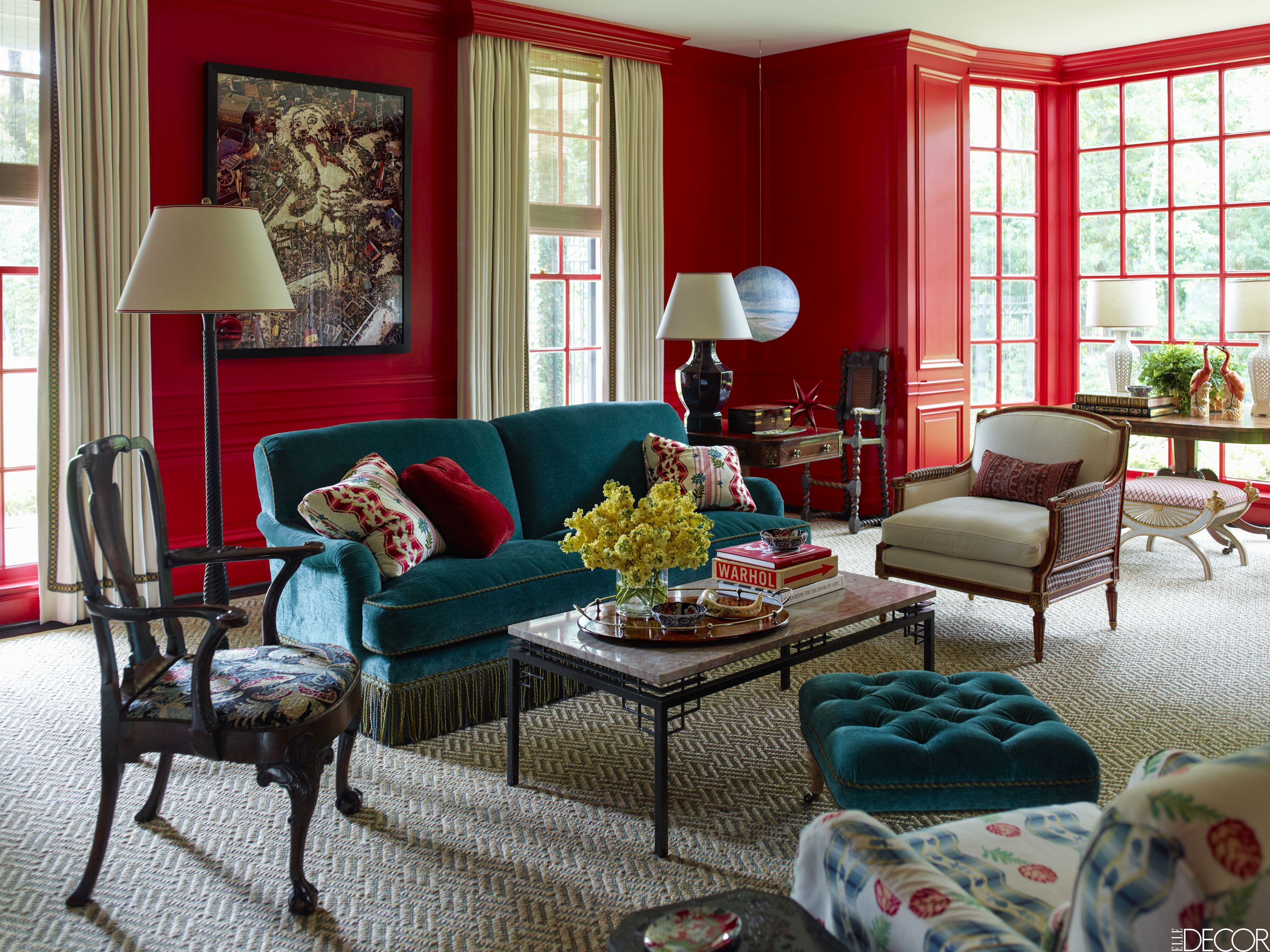 red bedroom and living room ideas