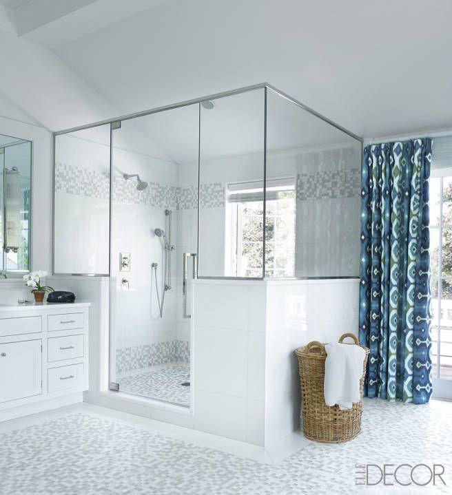 Zen Bathroom Bamboo Roman Shade Wood Sunburst Mirror Chrome Towel Rack Marble Tiles View Elle Decor Middot Lucite Bench