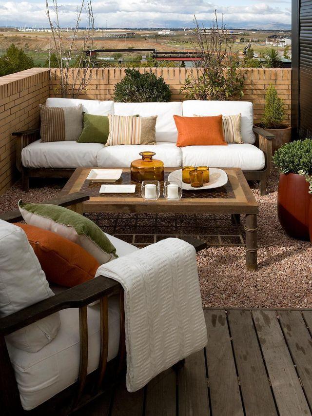 salón en la terraza muebles de exterior