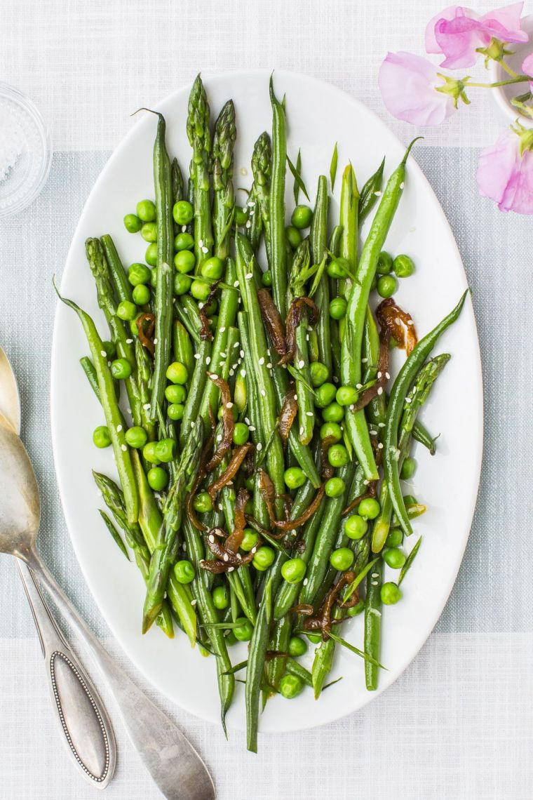 lemony asparagus, beans, and peas