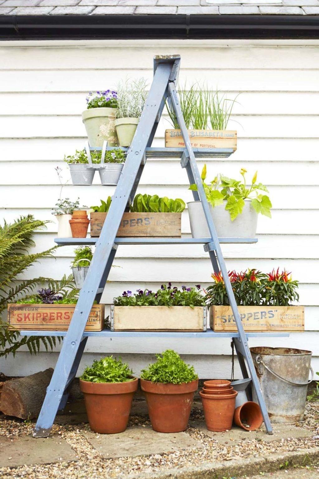 16 Container Gardening Ideas Potted Plant Ideas We Love   Outdoor Garden Under Stairs   Exterior   Walkway   Crosstie   Gardening   Simple