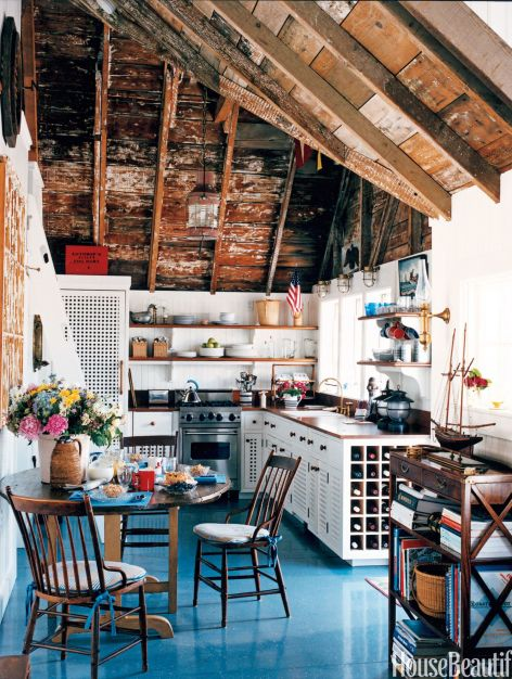 kitchen with exposed ceiling