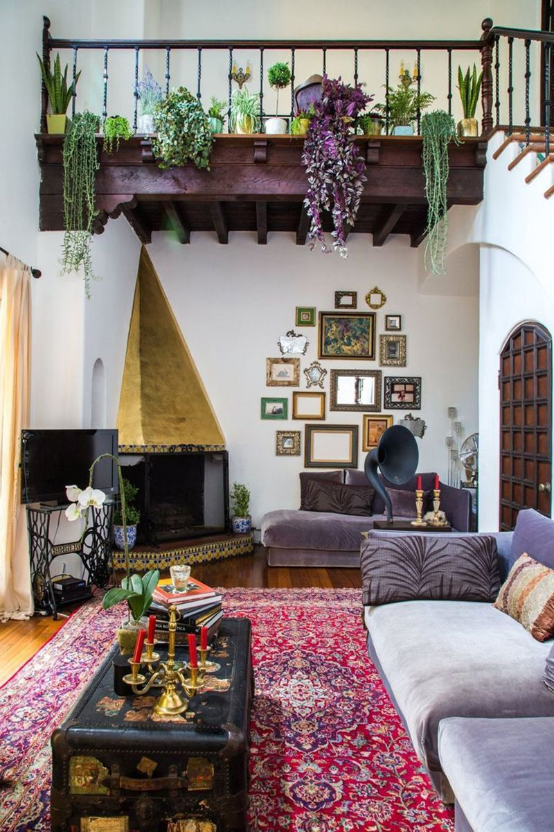 Bohemian Interior Design Trend and Ideas   Boho Chic Home Decor Bold hues and rich textiles offset white walls and