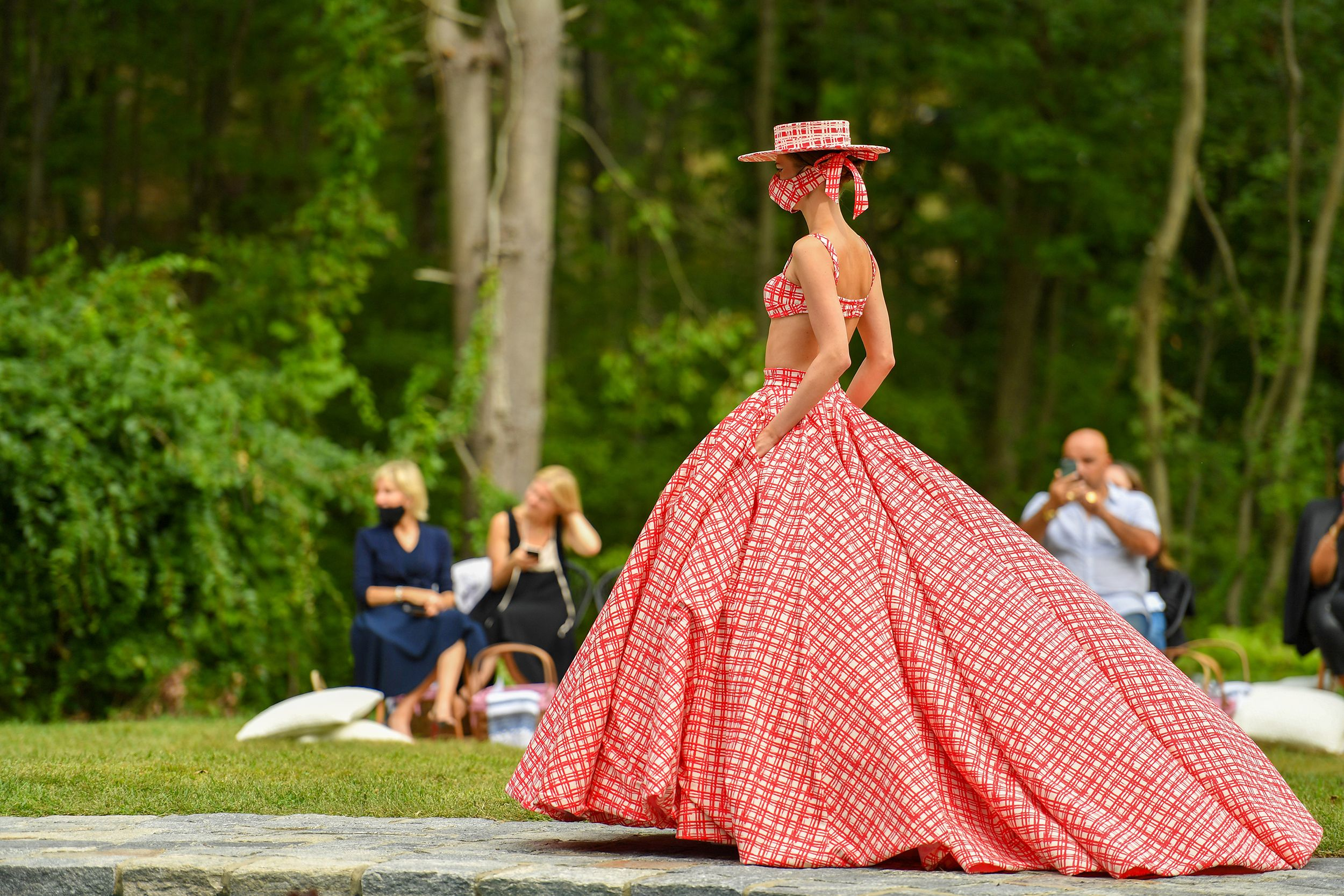 westport, connecticut   september 17 a model walks the runway for the christian siriano collection 37 2020 fashion show on september 17, 2020 in westport, connecticut photo by mike coppolagetty images for christian siriano